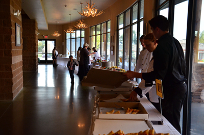 Setting up catering at PVCC west lobby